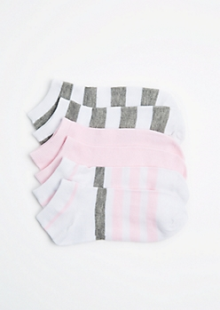 3-Pack Pink & Gray Striped No-Show Socks