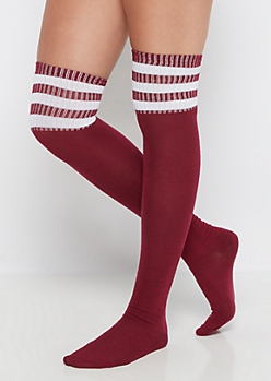 Burgundy White Striped Over-The-Knee Socks