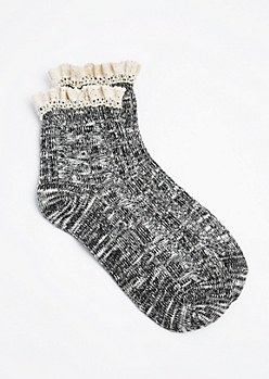 Black Marled Knit Ruffled Anklet
