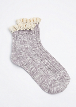 Light Purple Marled Knit Ruffled Anklet