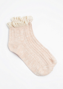 Light Pink Marled Knit Ruffled Anklet