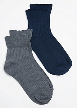 2-Pack Navy & Charcoal Gray Anklet Socks