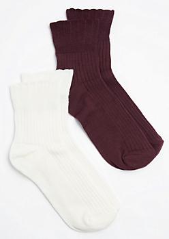 2-Pack Burgundy & Ivory Anklet Socks