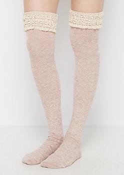 Pink Ruffled & Marled Over-the-Knee Socks