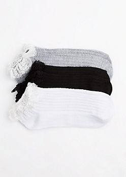 3-Pack Black Lace Ruffled Ankle Socks