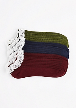 3-Pack Burgundy Lace Ruffled Ankle Socks