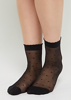 Black Dotted Swiss Anklet Socks