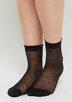 Black Dotted Swiss Anklet Socks