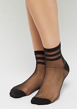 Black Sheer Varsity Anklet Socks