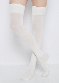 Ivory Thigh High Socks