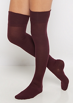 Burgundy Thigh High Socks