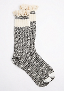 Black Marled Knit Ruffled Boot Sock