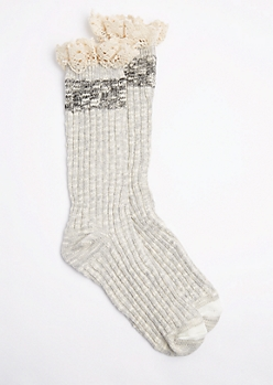 Gray Marled Knit Ruffled Boot Sock