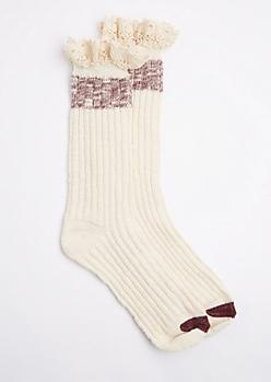 Ivory Marled Knit Ruffled Boot Sock