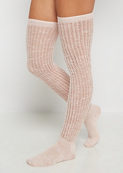 Pink Marled Over-The-Knee Socks