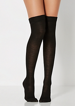 Black Rolled Cuffed Over-The-Knee Socks