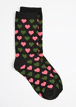 Pink & Green Heart Crew Socks