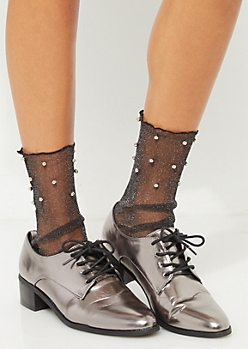 Studded Metallic Sheer Crew Socks