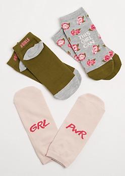 GRL PWR Floral Low Cut Socks