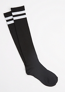 White Striped Varsity Knee Socks