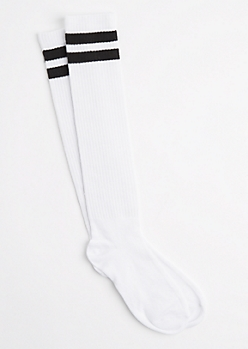 Red Striped Varsity Knee Socks