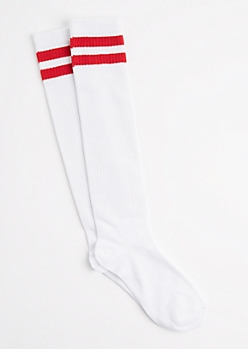 Black Striped Varsity Knee Socks