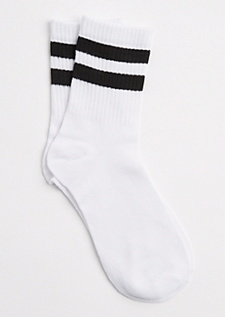 White Double Striped Crew Socks