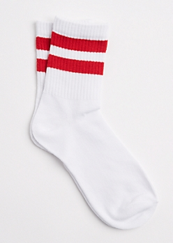 Red Double Striped Crew Socks