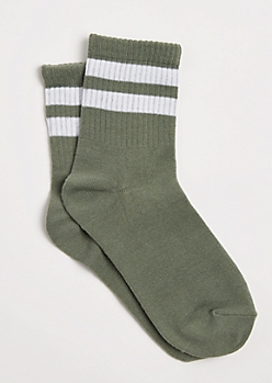Olive Double Striped Crew Socks