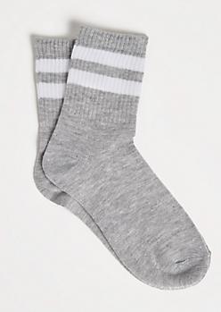 Heather Gray White Striped Crew Socks
