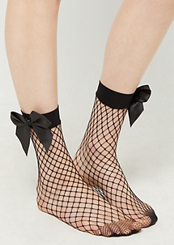 Black Bow Fishnet Socks