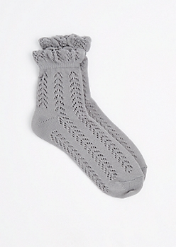 Gray Geo Pointelle Ankle Socks