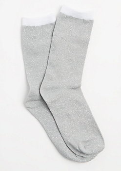 Silver Color Block Metallic Glitz Crew Socks