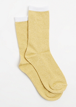 Gold Color Block Metallic Glitz Crew Socks