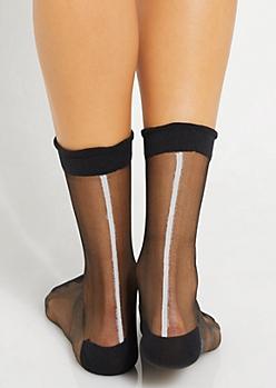Black Striped Back Sheer Crew Socks