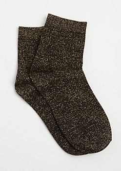 Black Metallic Glitz Crew Socks
