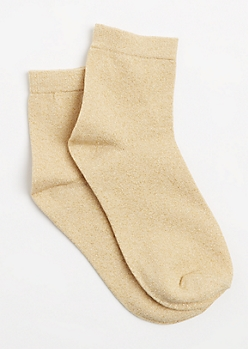Gold Metallic Glitz Crew Socks