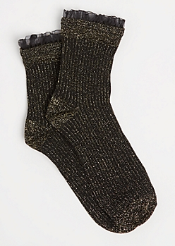 Black Metallic Glitz Ruffle Crew Socks