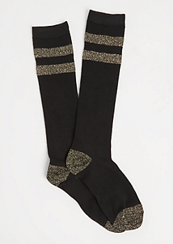 Black Metallic Glitz Varsity Socks