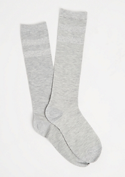 Gray Metallic Glitz Varsity Socks