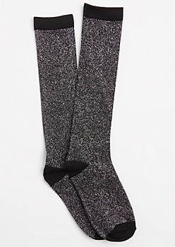 Black Color Block Metallic Glitz Crew Socks