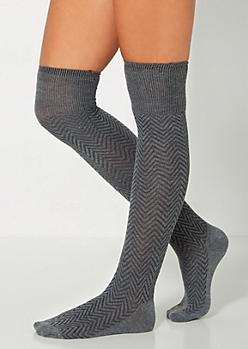 Gray Chevron Over-The-Knee Socks