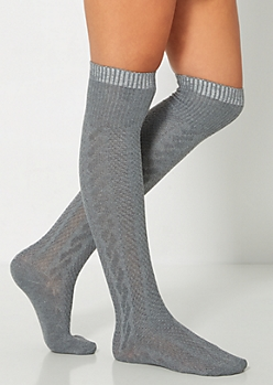 Gray Cable Knit Over-The-Knee Socks