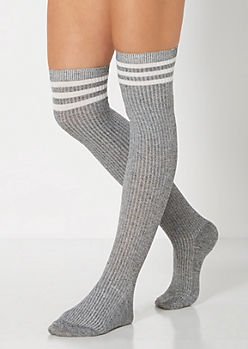 Gray Marled Striped Over-The-Knee Socks