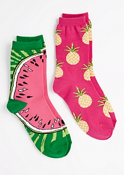 Pineapple & Watermelon Crew Socks