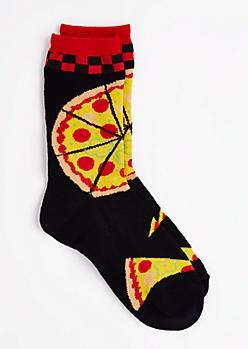 Black Pizza Party Crew Socks