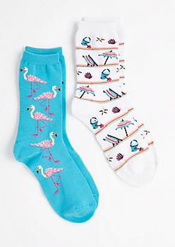 2-Pack Flamingo Beach Crew Socks
