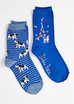 2-Pack Frenchie Crew Socks