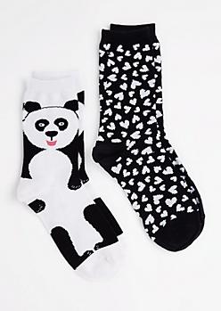 2-Pack Panda Hearts Crew Socks