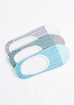 3-Pack Turquoise Pointelle Print Footliner